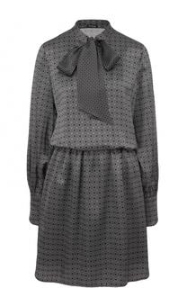 Приталенное шелковое платье с воротником аскот Kiton