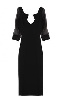 Облегающее платье-миди с прозрачными рукавами Dsquared2