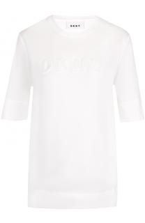 Хлопковая футболка с логотипом бренда DKNY