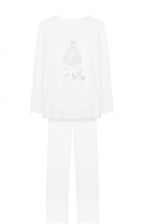 Пижама с кружевной отделкой и металлизированным принтом La Perla