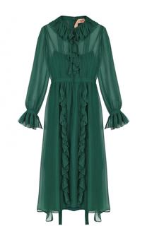 Шелковое платье-миди с оборками No. 21