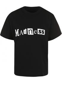 Хлопковая футболка с надписями Sacai