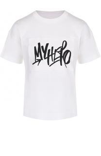 Хлопковая футболка с надписью Sacai