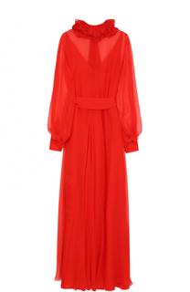 Шелковое платье-макси с поясом и оборками Lanvin
