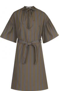 Хлопковое платье-миди в полоску с поясом Tome