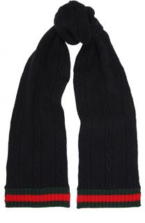 Шерстяной шарф с контрастной отделкой Gucci