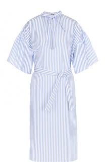 Хлопковое платье в полоску с поясом Tome