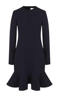 Мини-платье с оборкой и длинным рукавом Victoria by Victoria Beckham