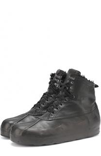 Высокие кожаные кеды на шнуровке с внутренней меховой отделкой OXS rubber soul