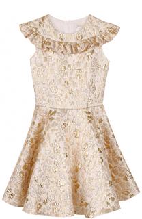 Платье-миди с металлизированной цветочной отделкой и оборкой David Charles
