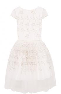 Платье с вышивками и декоративным поясом David Charles