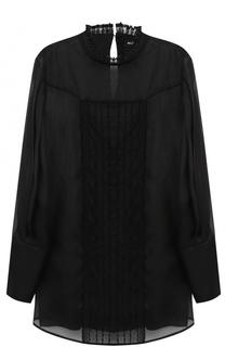 Шелковая полупрозрачная блуза с воротником-стойкой Kiton