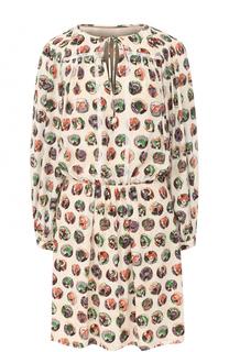 Шелковое мини-платье с принтом Burberry