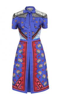 Шелковое платье-миди с ярким принтом Mary Katrantzou