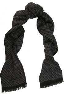 Шерстяной шарф с необработанным краем Armani Collezioni