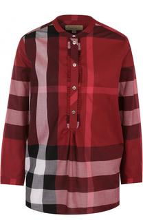 Хлопковая блуза в клетку с круглым вырезом Burberry