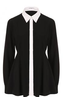 Шелковая приталенная блуза с контрастным воротником Givenchy