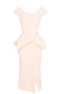 Приталенное платье с оборками и высоким разрезом Roland Mouret