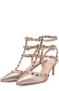 Туфли Rockstud из металлизированной кожи с ремешками Valentino