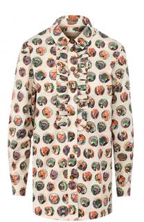 Блуза прямого кроя с принтом и оборками Burberry