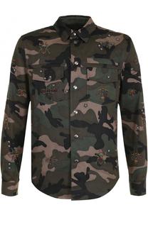 Хлопковая куртка на кнопках с камуфляжным принтом и вышивкой Valentino
