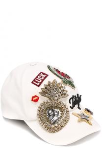 Бейсболка с нашивкой и кристаллами Dolce & Gabbana
