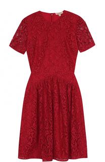 Кружевное мини-платье с короткими рукавами Burberry