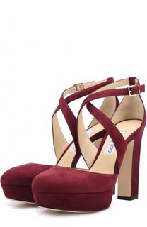Замшевые туфли Joyce 120 на устойчивом каблуке Jimmy Choo