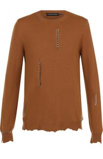 Джемпер из смеси шерсти и кашемира с необработанным краем и декоративной отделкой Alexander McQueen