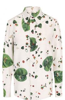 Шелковая блуза прямого кроя с принтом Bally
