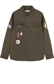 Хлопковая рубашка с накладными карманами и нашивками Stella McCartney