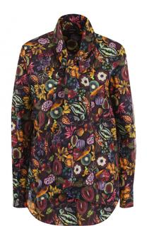 Хлопковая блуза с принтом и воротником аскот Kiton
