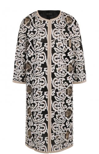Пальто прямого кроя с вышивкой и укороченным рукавом St. John