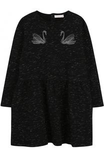 Хлопковое платье свободного кроя с принтом и вышивкой Stella McCartney