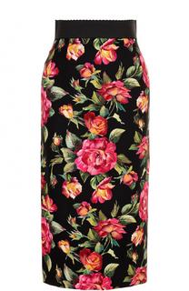 Юбка-карандаш с разрезом и цветочным принтом Dolce & Gabbana