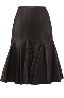 Кожаная юбка-миди Alaia