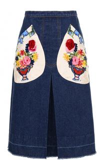 Джинсовая юбка-миди с декорированными карманами Dolce & Gabbana