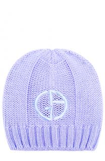 Вязаная шапка с логотипом бренда Giorgio Armani