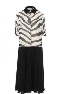 Шелковое платье-рубашка свободного кроя Lanvin