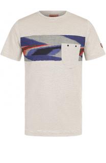 Хлопковая футболка в полоску с контрастной отделкой Missoni