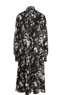 Платье свободного кроя с принтом и воротником аскот MCQ