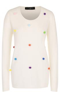Пуловер с круглым вырезом и контрастной отделкой Pietro Brunelli