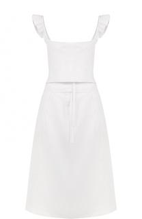Приталенное хлопковое платье с оборками Rachel Comey