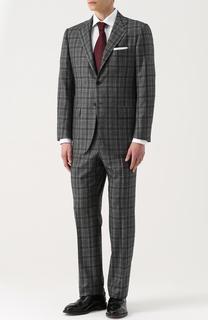 Кашемировый костюм в клетку с пиджаком на двух пуговицах Kiton