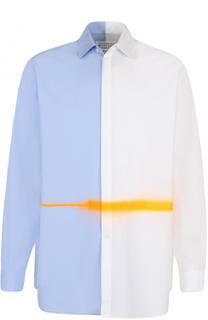 Хлопковая рубашка свободного кроя с контрастной отделкой Maison Margiela