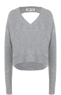 Шерстяной пуловер свободного кроя с открытой спиной MCQ