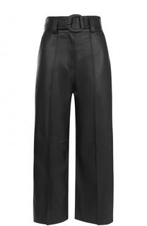 Укороченные кожаные брюки со стрелками и поясом DROMe