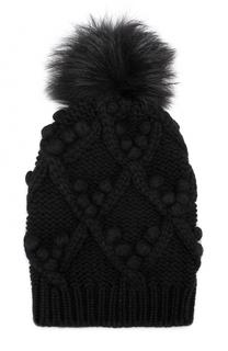 Кашемировая шапка фактурной вязки с меховым помпоном Dolce & Gabbana
