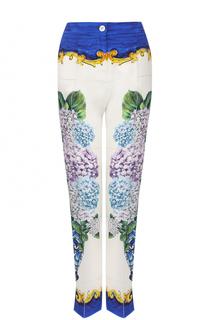 Шелковые брюки прямого кроя с принтом Dolce & Gabbana