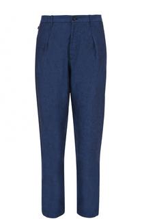 Льняные брюки прямого кроя Armani Collezioni
